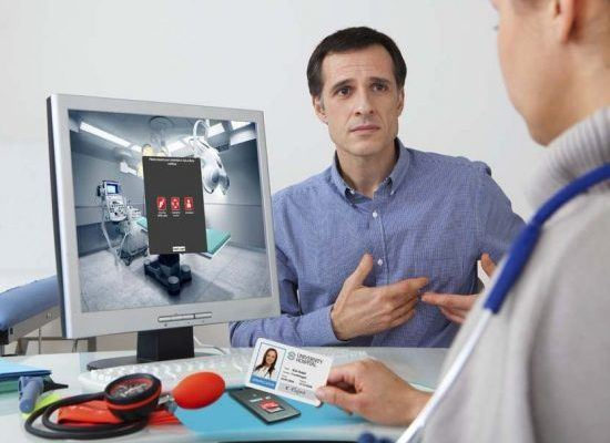 Doctor leveraging IAM and multi-factor authentication (MFA) capabilities for his patient